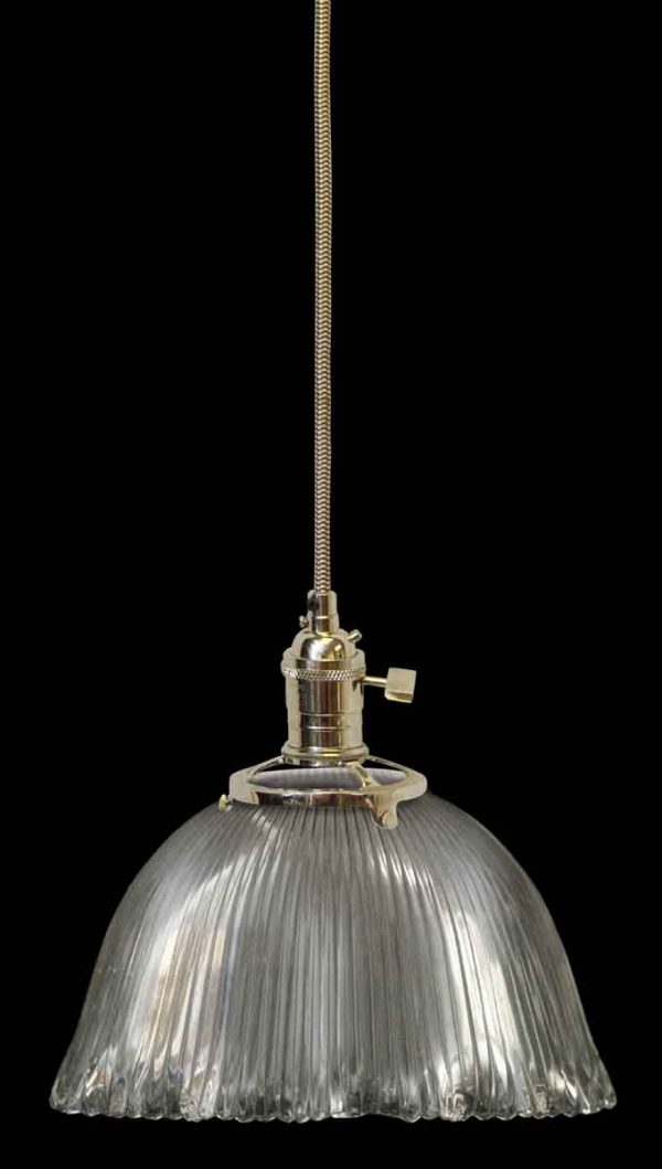 Down Lights - Antique Holophane 7.375 in. Ribbed Glass Pendant Light