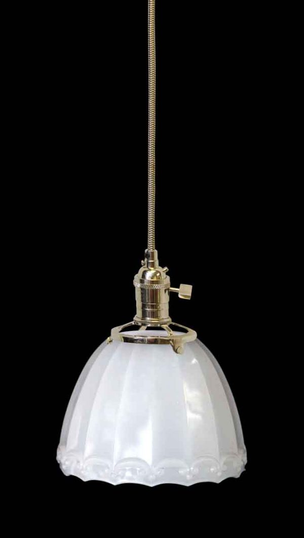 Down Lights - Antique Milk Glass 5.5 in. Shade Pendant Light