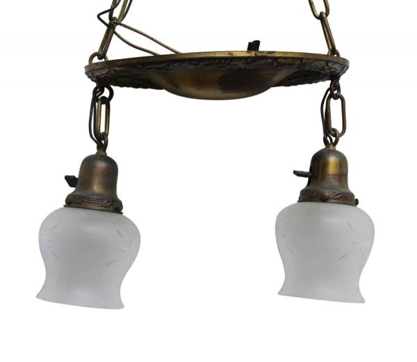 Down Lights - Antique Victorian 2 Light Brass Pan Pendant Light