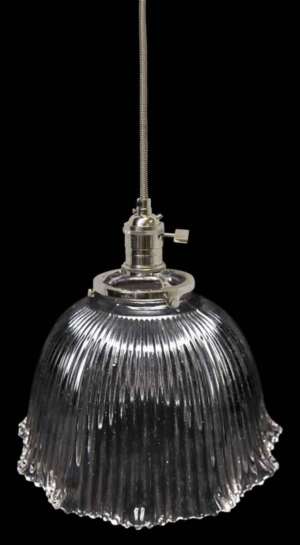 Down Lights - Custom 1920 Holophane 7 in. Clear Glass Pendant Light