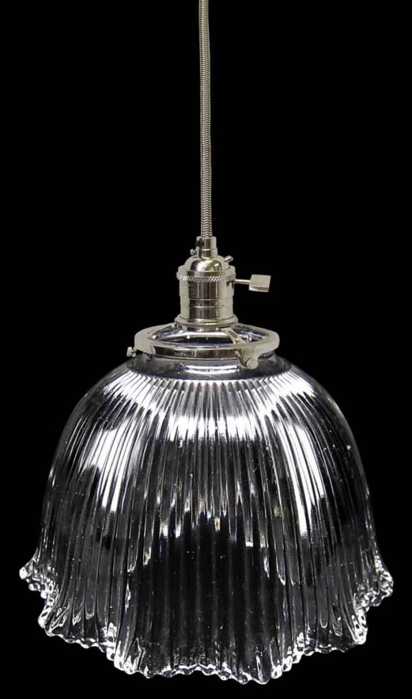 Down Lights - Custom 1920s Clear Holophane 6.875 in. Glass Pendant Light