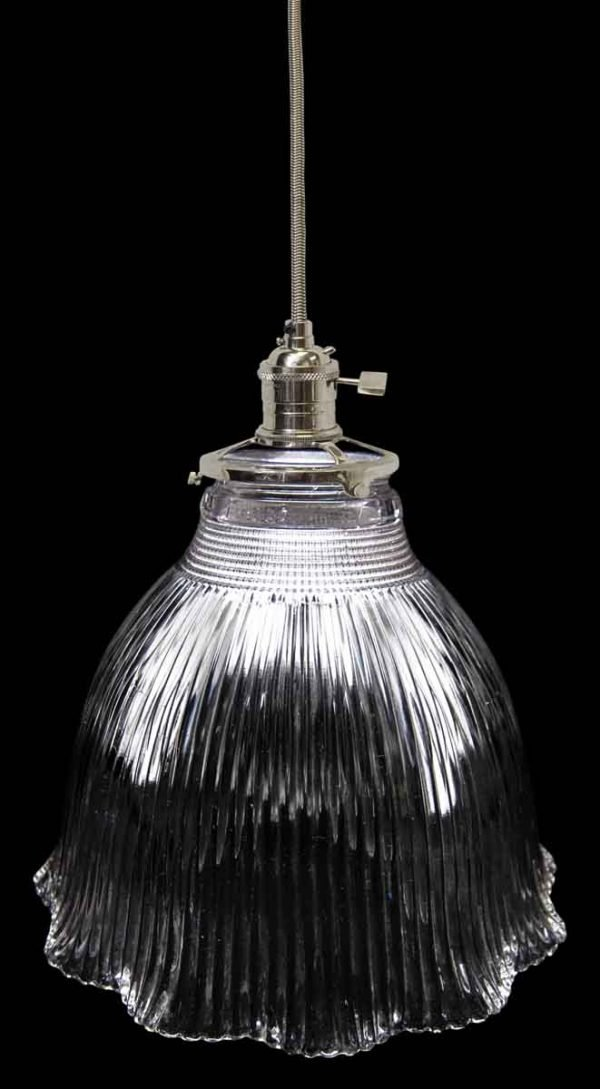 Down Lights - Custom 1920s Holophane 7 in. Clear Glass Pendant Light
