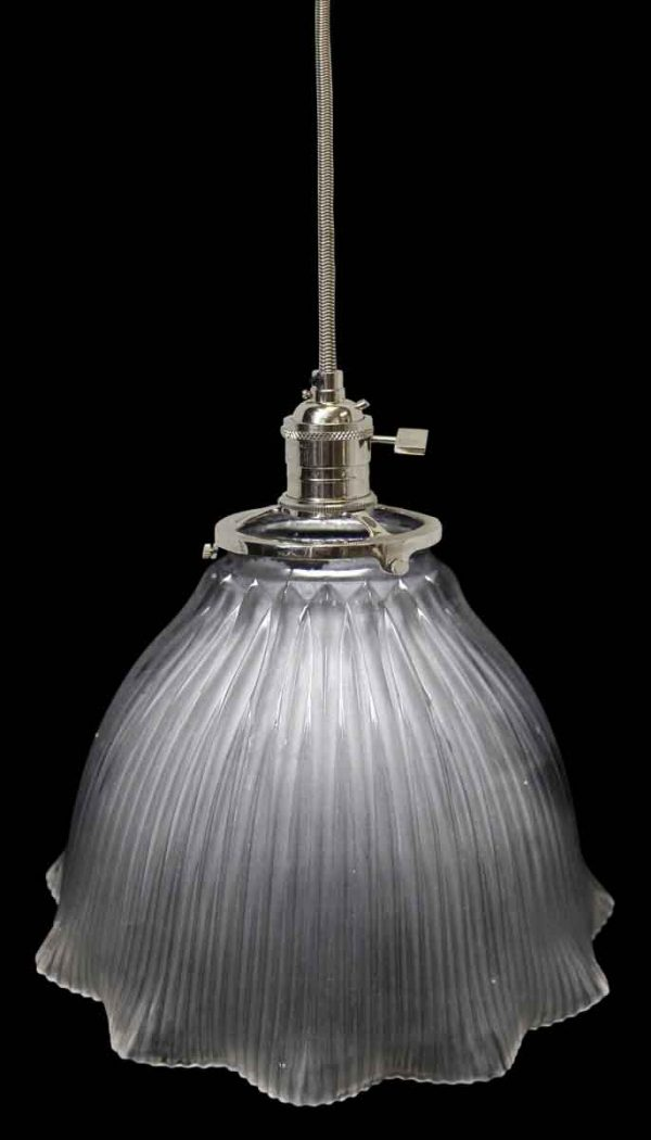 Down Lights - Custom 1920s Holophane Clear 6.75 in. Pendant Light