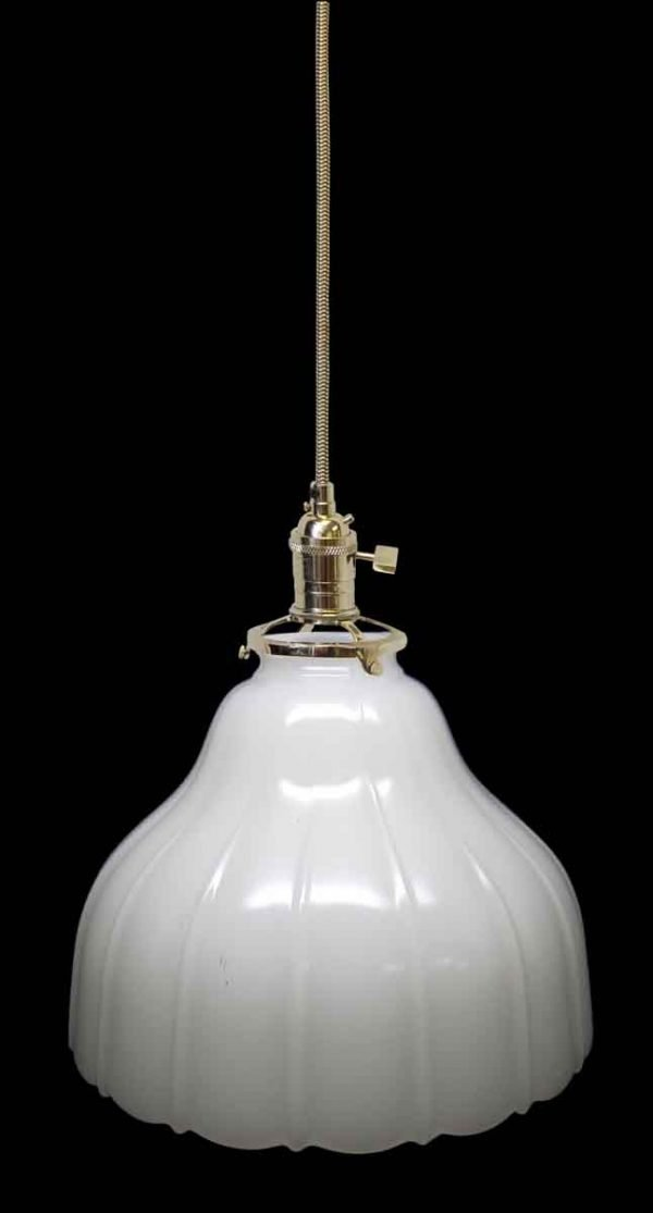 Down Lights - Custom 1920s Milk Glass White 8.25 in. Pendant Light