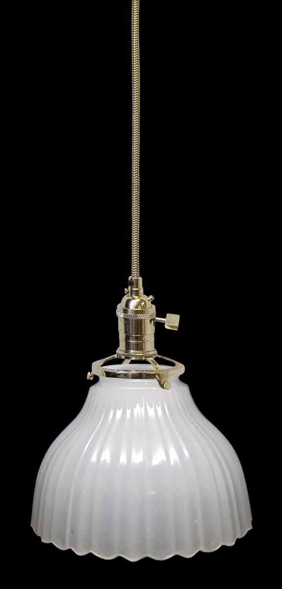 Down Lights - Custom 1920s White 5.75 in. Milk Glass Pendant Light