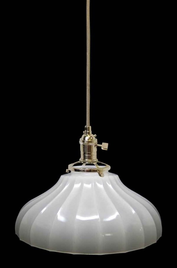 Down Lights - Custom 1920s White Milk Glass 11.375 in. Pendant Light