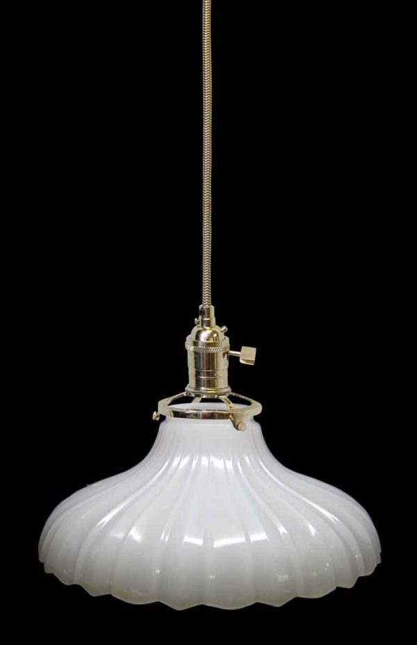 Down Lights - Custom 1920s White Milk Glass 12.125 in. Pendant Light