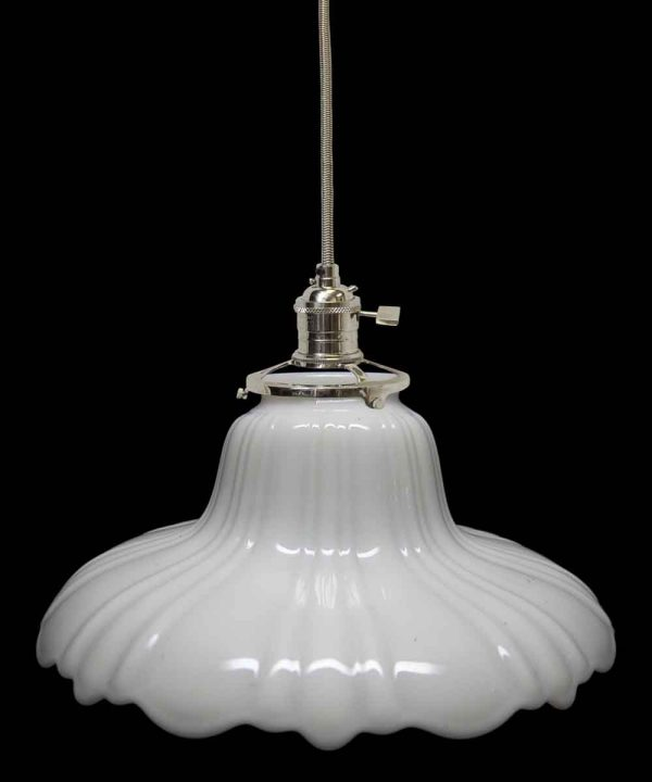 Down Lights - Custom 1920s White Milk Glass 8.5 Pendant Light