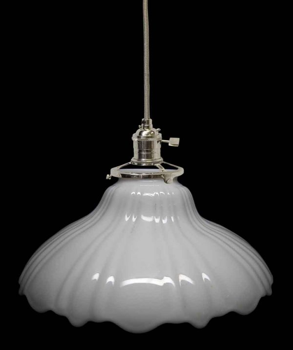 Down Lights - Custom 1920s White Milk Glass 8.875 in. Pendant Light