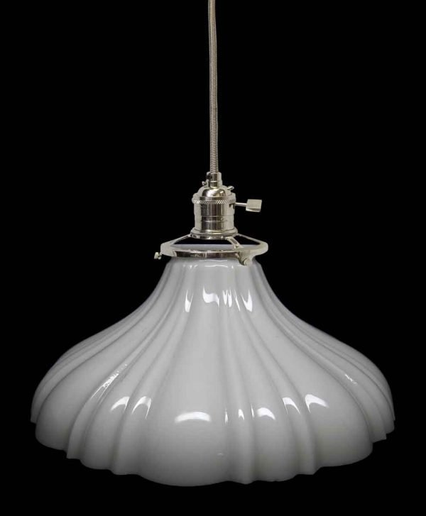 Down Lights - Custom 1920s White Milk Glass 9 in. Pendant Light