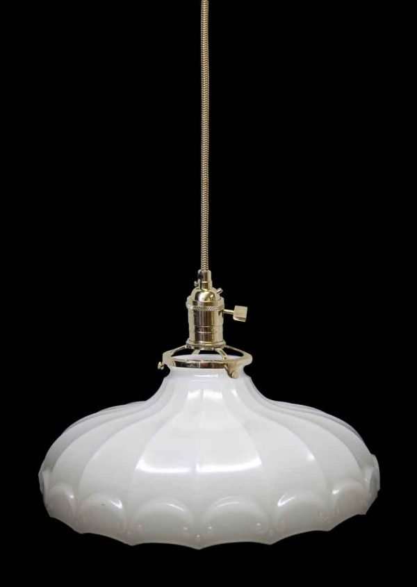 Down Lights - Custom 1920s White Milk Glass 9.5 in. Pendant Light