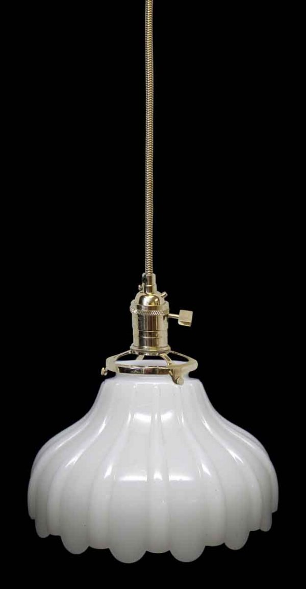 Down Lights - Custom Antique 7 in. White Milk Glass Pendant Light