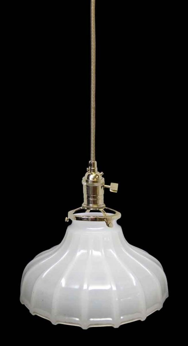 Down Lights - Custom Antique 7.375 in. White Milk Glass Pendant Light