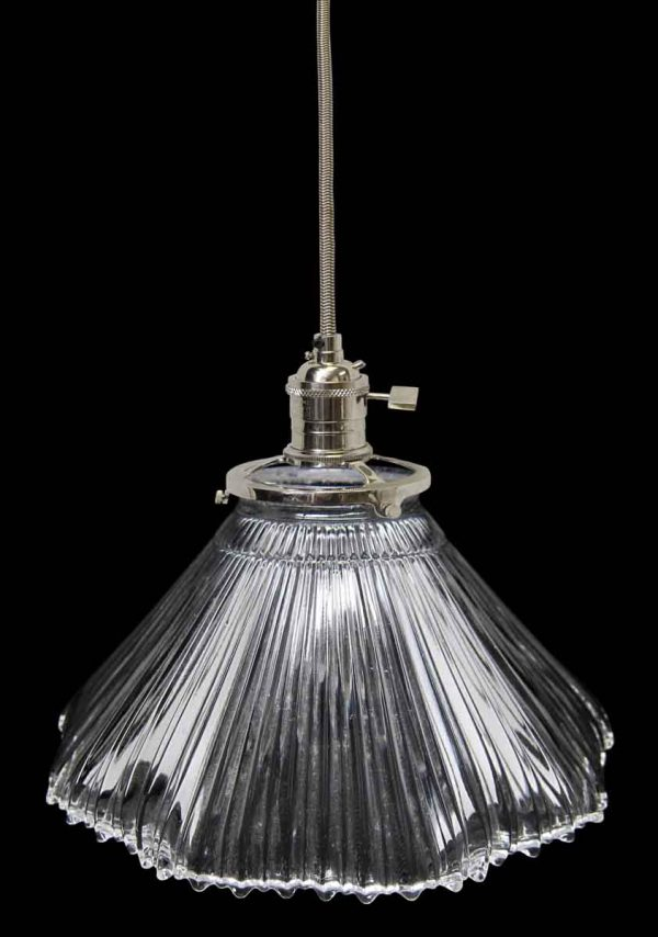 Down Lights - Custom Antique Clear Holophane 7 in. Pendant Light