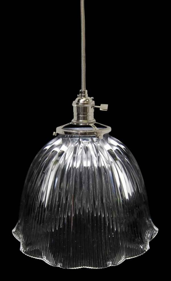 Down Lights - Custom Antique Holophane Clear Glass 9.75 in. Pendant Light