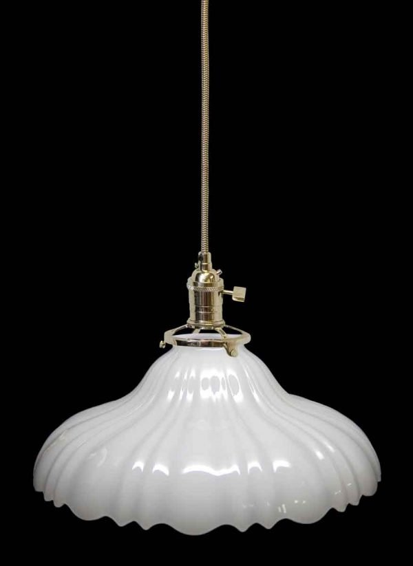 Down Lights - Custom Antique White Milk Glass 10 in. Pendant Light