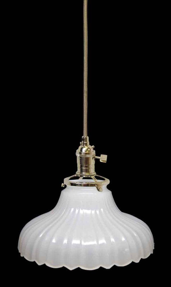 Down Lights - Custom Antique White Milk Glass 7.125 in. Pendant light