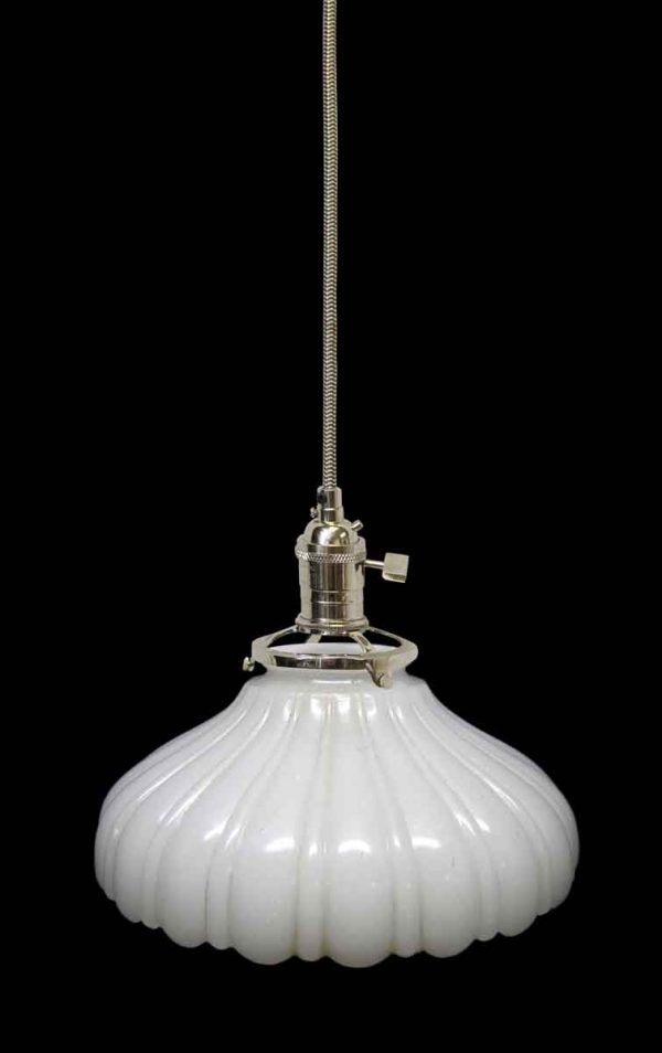 Down Lights - Custom White Milk Glass 7.25 in. 1920s Pendant Light