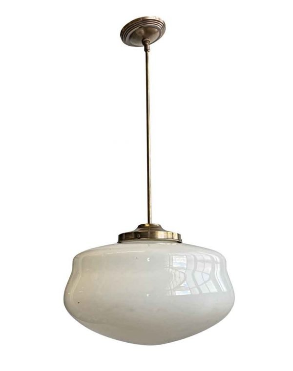 Globes - 1940s Schoolhouse 16 in. Globe Brass Pole Pendant Light