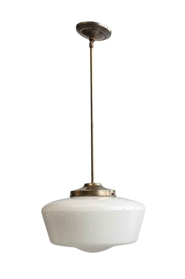 Globes - Original Schoolhouse 14.5 in. Globe Brass Pole Pendant Light