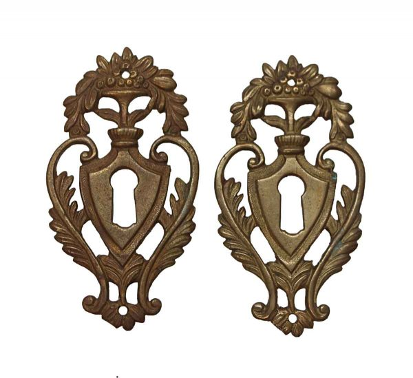 Keyhole Covers - Pair of Victorian Brass Floral Keyhole Covers