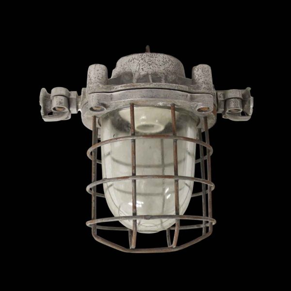 Nautical Lighting - 1940 Nautical Ship Light Complete with Cage