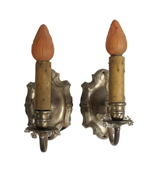 Sconces & Wall Lighting - 1920s Rococo Silver Finish Wall Sconces