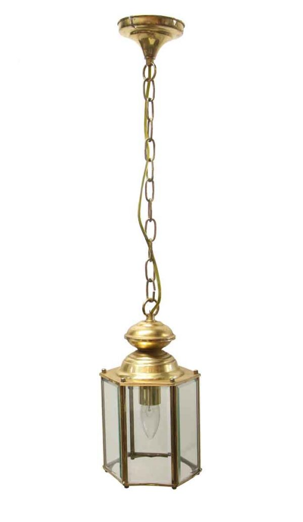 Sconces & Wall Lighting - 1970s Traditional Beveled Glass Brass Hanging Lantern