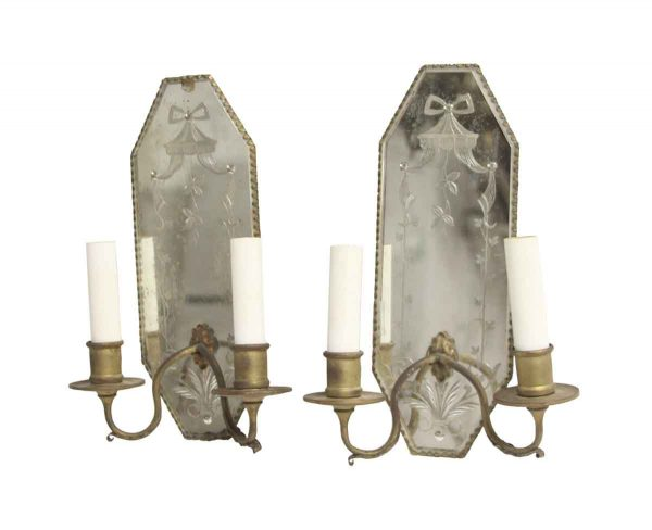 Sconces & Wall Lighting - Pair of 1930s French Brass & Etched Mirrored 2 Arm Sconces
