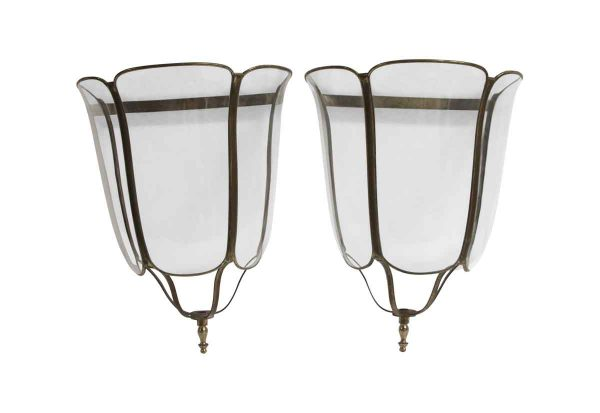 Sconces & Wall Lighting - Pair of Vintage Italian Glass Sconce Frames