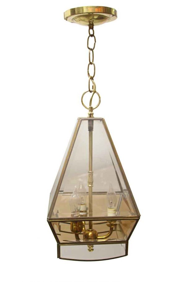 Sconces & Wall Lighting - Traditional Brass Beveled Glass Octagon Ceiling Lantern
