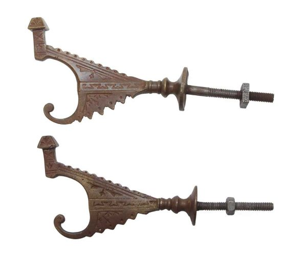 Single Hooks - Antique Eastlake Bronze Pair of Hall Tree Hooks