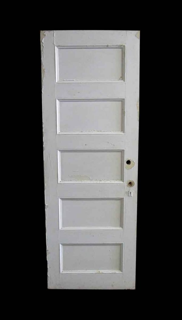 Standard Doors - Antique 5 Pane White Wood Privacy Door 78.25 x 27.875
