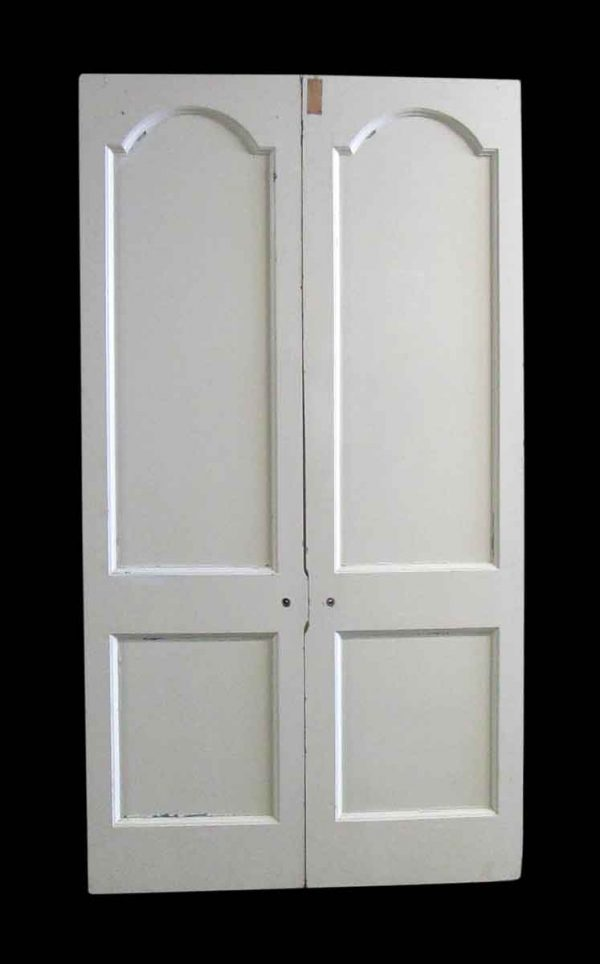 Standard Doors - Vintage 2 Pane White Wood Double Doors 89 x 48