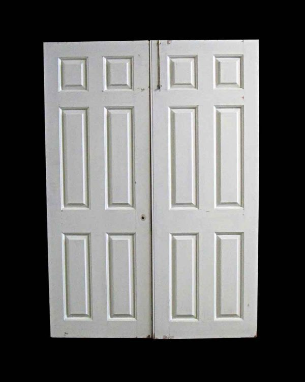 Standard Doors - Vintage 6 Pane White Passage Double Doors 78.5 x 56