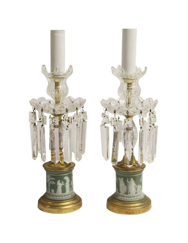Table Lamps - Pair of Petite Green Wedgewood Table Lamps