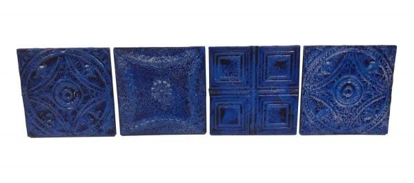 Tin Panels - Set of 4 Blue Antique Tin Panels