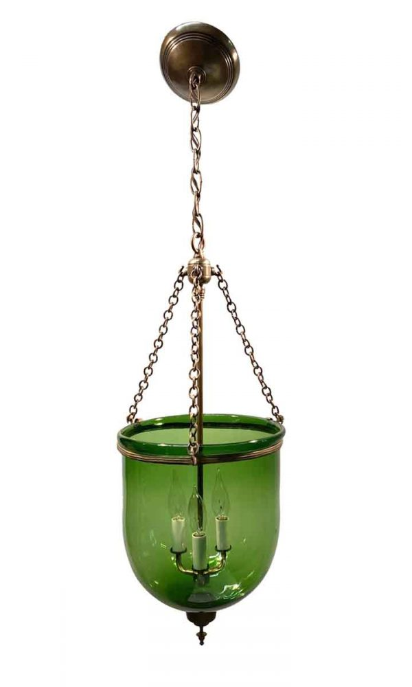 Wall & Ceiling Lanterns - 19th Century Hand Blown Green Glass 10.5 in. Bell Jar Pendant Light