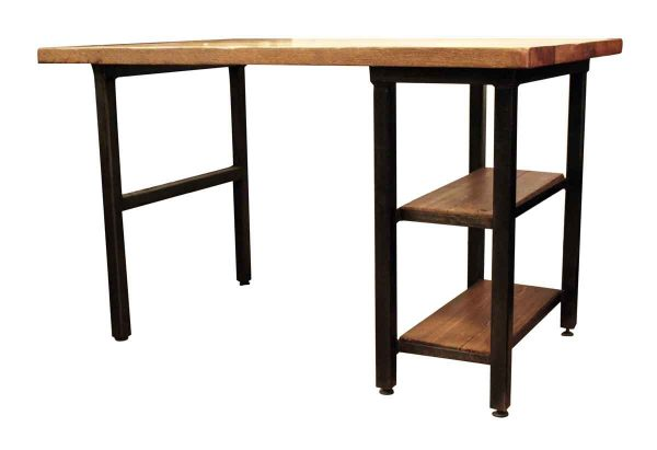 Altered Antiques - Handmade Reclaimed Oak Top Desk with Steel Legs