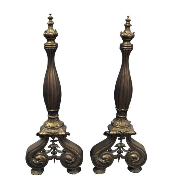 Andirons - Turn of the Century French Fireplace Bronze Andirons