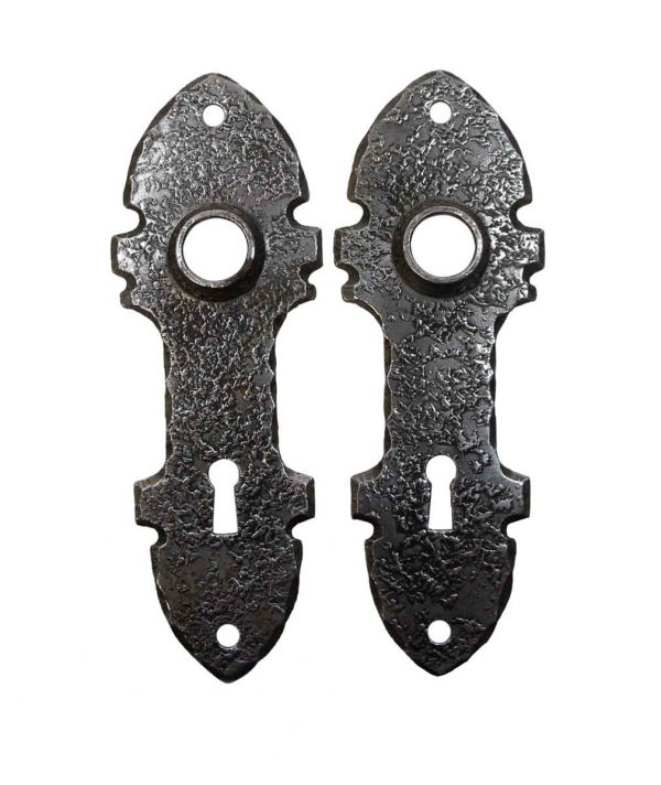 Back Plates - Pair of Arts & Crafts Cast Iron 6 in. Door Back Plates