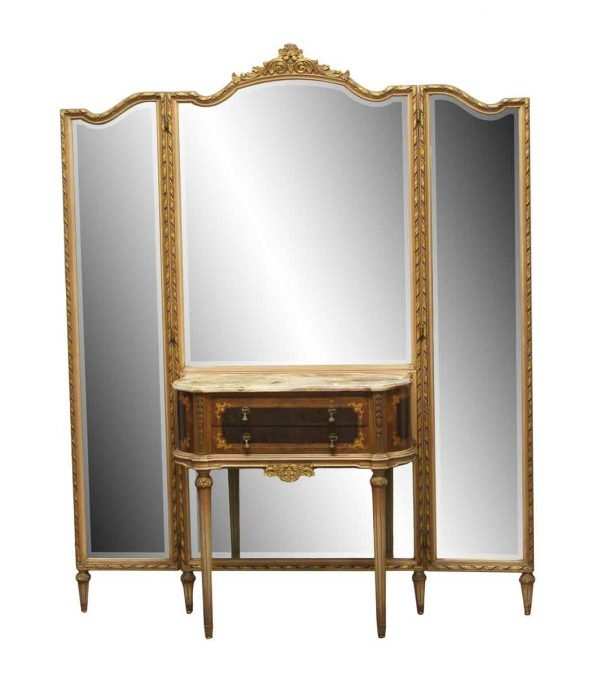 Bedroom - Antique Federal Style Folding Mirror Vanity Table