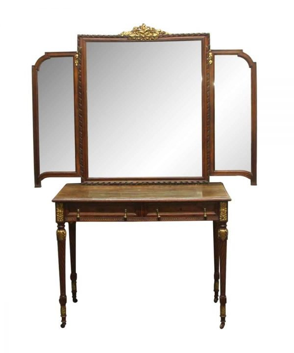 Bedroom - Antique Wood French Art Deco Tri-fold Mirrored Vanity