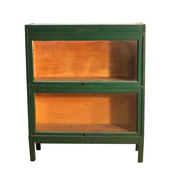 Bookcases - Mid Century Green Wooden Barrister Cabinet