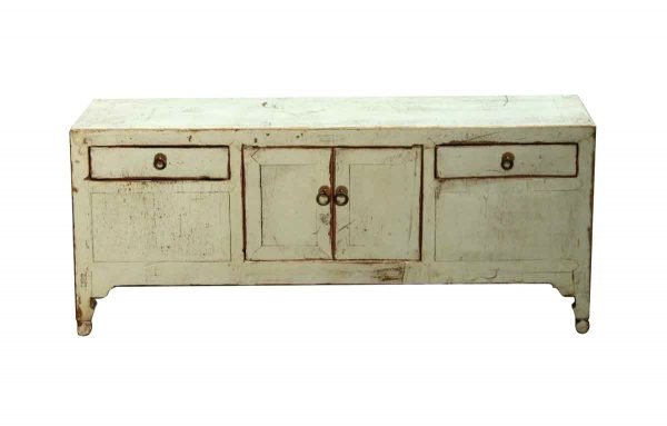 Cabinets - Antique Small Green Wooden Credenza Cabinet