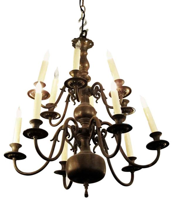 Chandeliers - Antique Dutch Colonial Bronze 12 Arm Chandelier