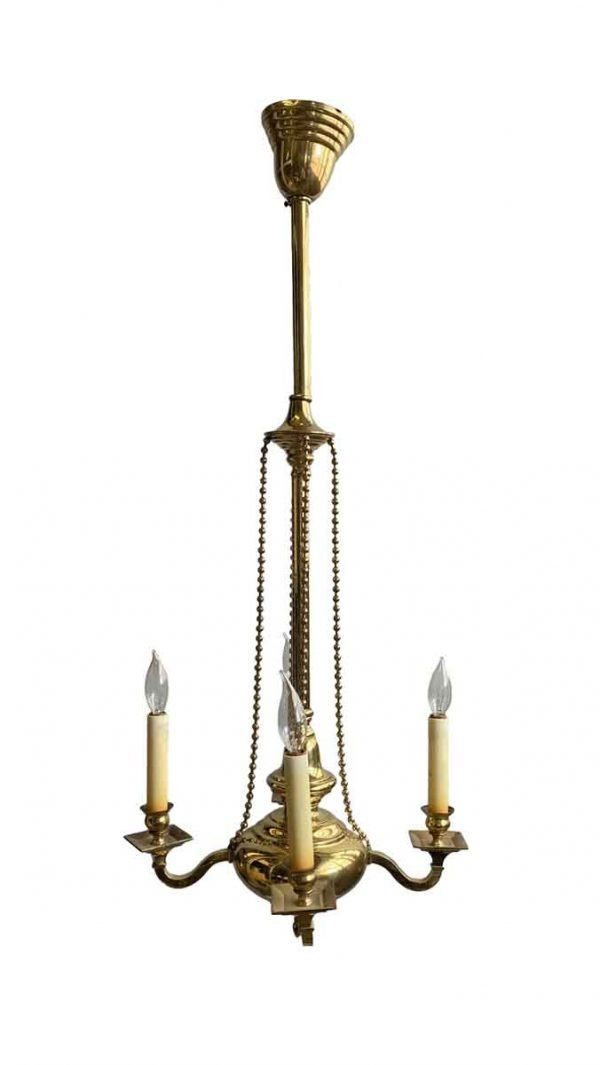 Chandeliers - Antique Four Arm Colonial Brass Pendant Light
