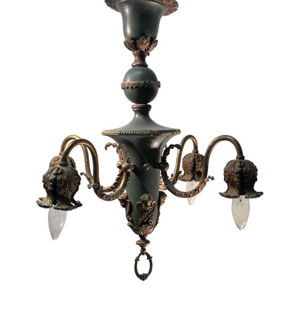 Chandeliers - Antique French 4 Arm Figural Down Chandelier
