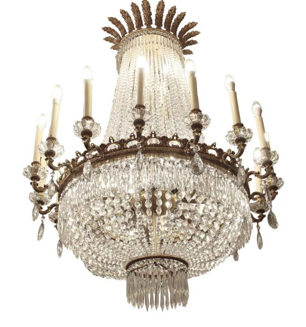 Chandeliers - Palace Hotel Lobby Crystal & Bronze 16 Arm Empire Style Chandelier