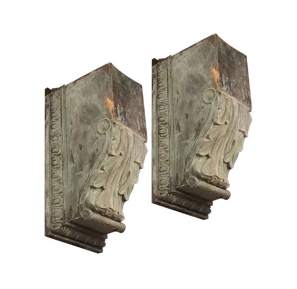 Corbels - Pair of Antique Copper Corbel Brackets from Prestigious NYC Building